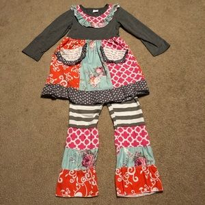 Boutique ruffled girls outfit. Beautiful colors!